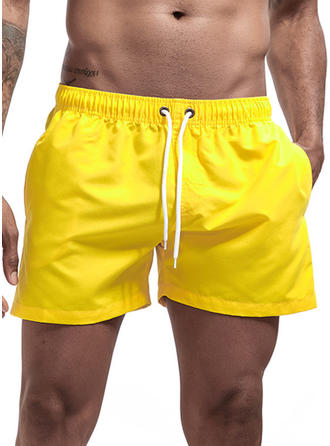 Men's Solid Color Drawstring Swim Trunks
