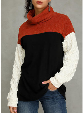 Color Block High Neck Long Sleeves Casual Blouses