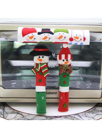 Feliz Navidad Monigote de nieve Tela Decoración navideña Cubierta de la manija del refrigerador (Juego de 3)
