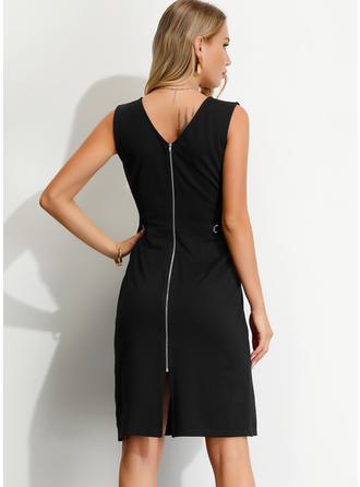 Solid Sleeveless Sheath Knee Length Little Black/Casual Dresses