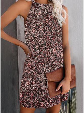 Impresión/Floral Sin mangas Tendencia Sobre la Rodilla Casual Vestidos