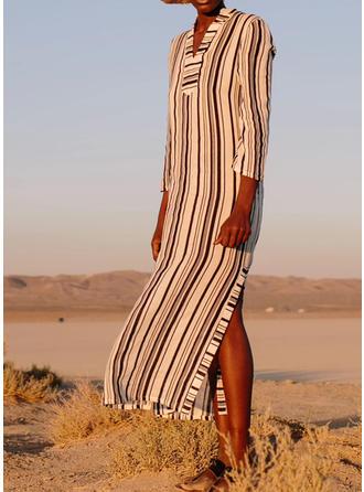 Stripe V-neck Bohemian Cover-ups Swimsuits
