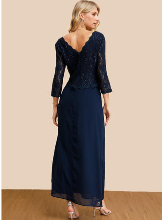 Lace/Sequins/Solid 3/4 Sleeves A-line Maxi Party/Elegant Dresses
