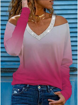Pente Paillettes Accueil froid Manches Longues T-shirts