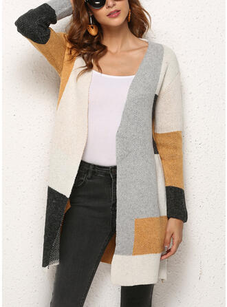 Polyester V-neck Color Block Sweater