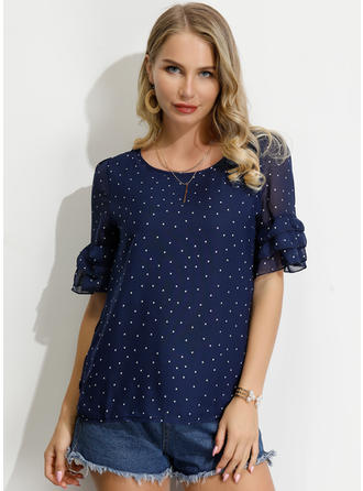 PolkaDot Round Neck 1/2 Sleeves Casual Blouses