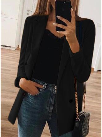 Long Sleeves Solid Blazers