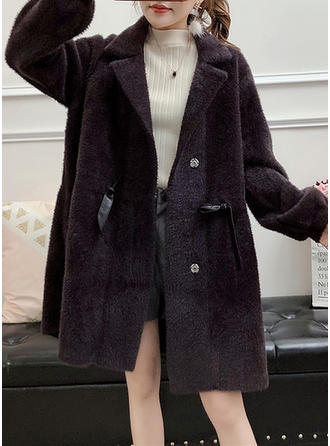 Denim Long Sleeves Plain Blend Coats