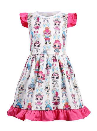 Dziewczyny Okrągły Dekolt Wydrukować Nieformalny Ładny Sukienka