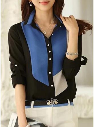 Chiffon Lapel Color Block Long Sleeves Shirt Blouses