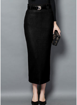 Polyester Plain Mid-Calf Pencil Skirts