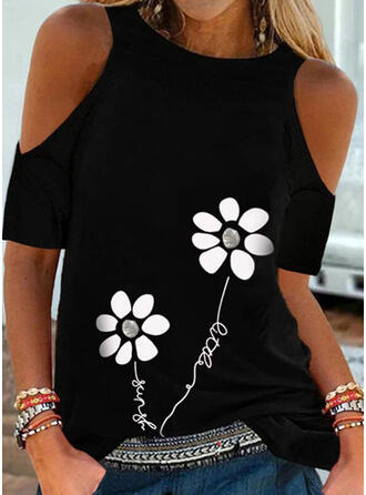 Print Floral Figure Cold Shoulder Short Sleeves Casual Blouses