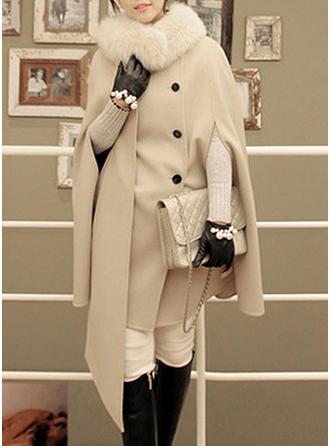 Blends Cotton Long Sleeves Plain Wide-Waisted Coats