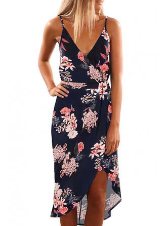 Print/Floral Sleeveless Sheath Above Knee/Asymmetrical Casual Dresses