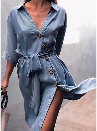 Solid 3/4 Sleeves Sheath Knee Length Casual/Elegant Dresses