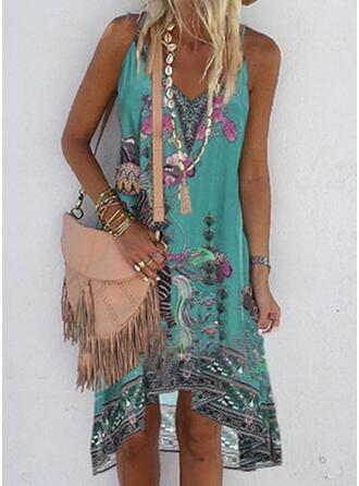 Print/Floral Sleeveless Shift Asymmetrical Casual/Boho/Vacation Dresses