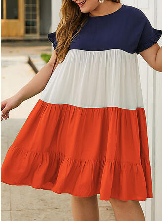 Color Block Short Sleeves Shift Knee Length Casual/Plus Size Dresses