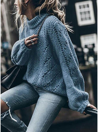 Solid Chunky knit Stand Collar Sweaters