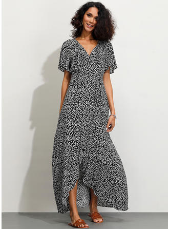 Print Short Sleeves A-line Asymmetrical Casual Dresses