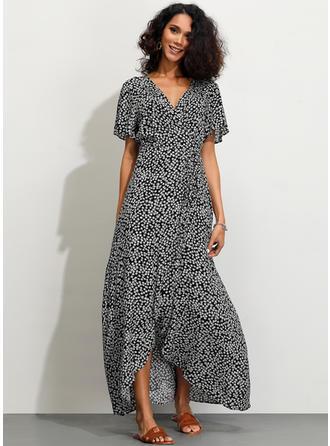 Minta Rövidujjú A-vonal Aszimmetrikus Hétköznapokra φορέματα