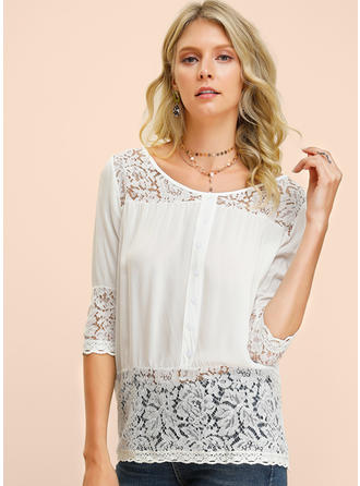 Solid Lace Round Neck 3/4 Sleeves Button Up Casual Sexy Blouses