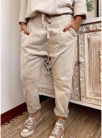 Sólido Fruncido Cordón Largo Casual Tribal Llanura Pantalones