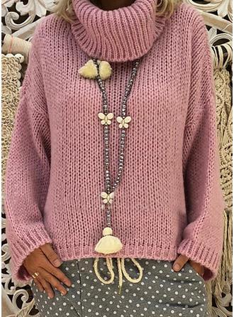 Akryl Polotröja Solid färg klumpig stickning Tröjor
