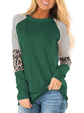 Animal Print Striped Round Neck Long Sleeves Casual Knit T-shirts