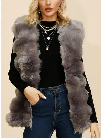 Polyester Long Sleeves Plain Faux Fur Coats Vest