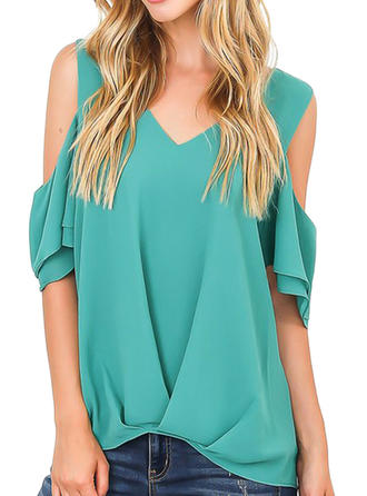 Solid Cold Shoulder 1/2 Sleeves Casual Elegant Blouses