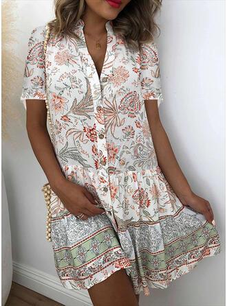 Print/Floral Short Sleeves Shift Above Knee Casual/Vacation Shirt Dresses