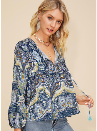 Print V neck Puff Sleeves Long Sleeves Casual Blouses
