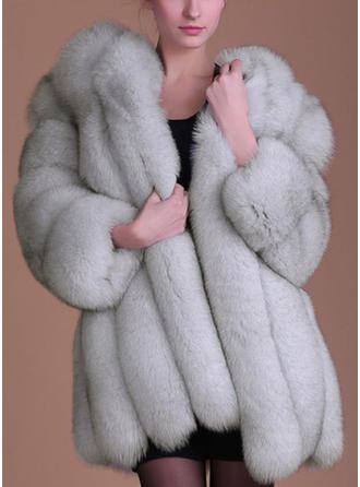 Faux Fur Long Sleeves Plain Blend Coats