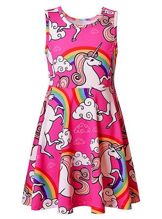 Meninas Neck redonda Impressão Casual Bonito Vestido