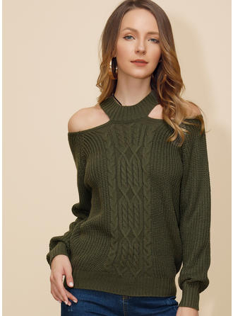 Solid Cable-knit Chunky knit Cold Shoulder Sweaters