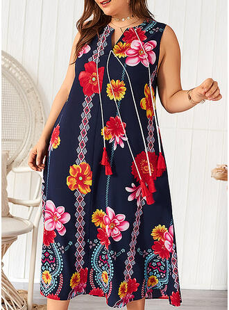Print/Floral Sleeveless Shift Casual/Vacation/Plus Size Midi Dresses