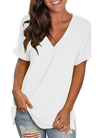 Einfarbig V-Ausschnitt Kurze Ärmel Freizeit T-shirts
