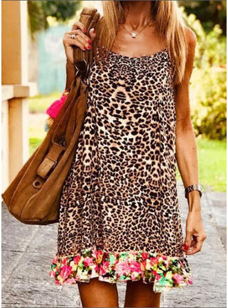 Floral/Leopard Sleeveless Shift Above Knee Casual/Vacation Dresses