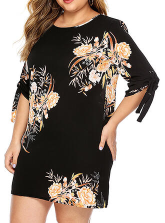 Print/Floral 3/4 Sleeves Shift Above Knee Casual/Elegant/Plus Size Dresses