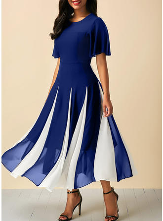 Color-block Round Neck Midi A-line Dress