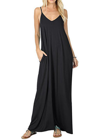 Solid Sleeveless Shift Maxi Little Black/Casual Dresses