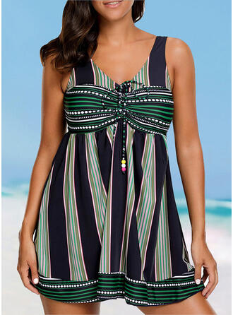 Stripe Splice color Strap V-Neck Sexy Casual Swimdresses Swimsuits