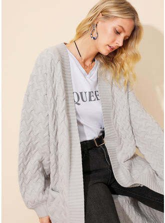 Solid Cable-knit Chunky knit Pocket Cardigan