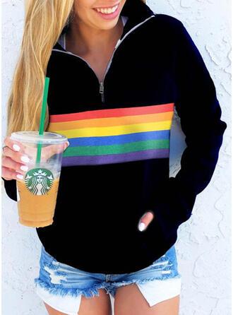 Color Block Lapel Lange ærmer Sweatshirts