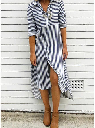 Striped Long Sleeves Shift Casual Midi Dresses