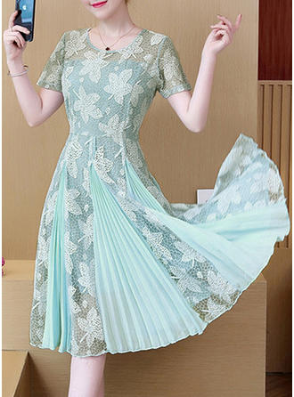 Lace Round Neck Knee Length A-line Dress