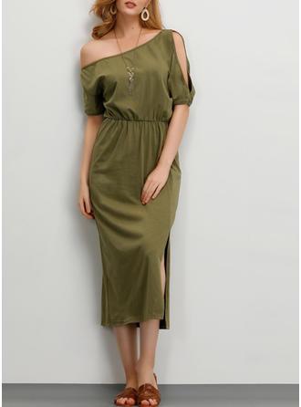 Solid Short Sleeves Sheath Party Midi Dresses