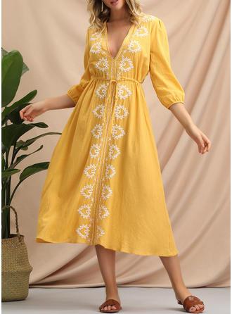 Embroidery 3/4 Sleeves A-line Casual/Boho/Vacation Midi Dresses