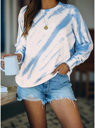 Tie dye Farve rund hals Lange ærmer Sweatshirts