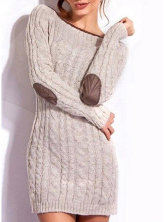 Color Block/Cable-knit Long Sleeves Shift Above Knee Casual Dresses